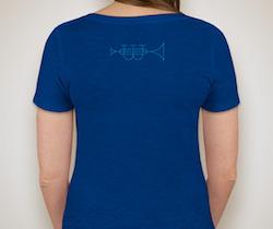 Back side art for womens purplish-blue shirt